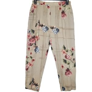 Bella Amore Italy Floral Linen Cropped Pant Medium
